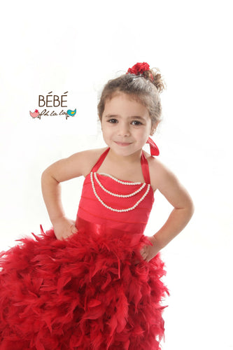 Red Feather Flower Girl Dress