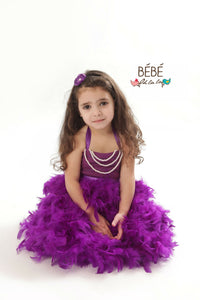 Plum Feather Flower Girl Dress