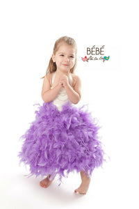 Lavender Feather Flower Girl Dress
