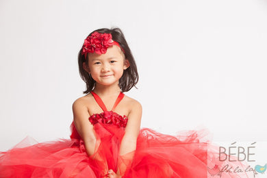 Ruby Red Flower Headband