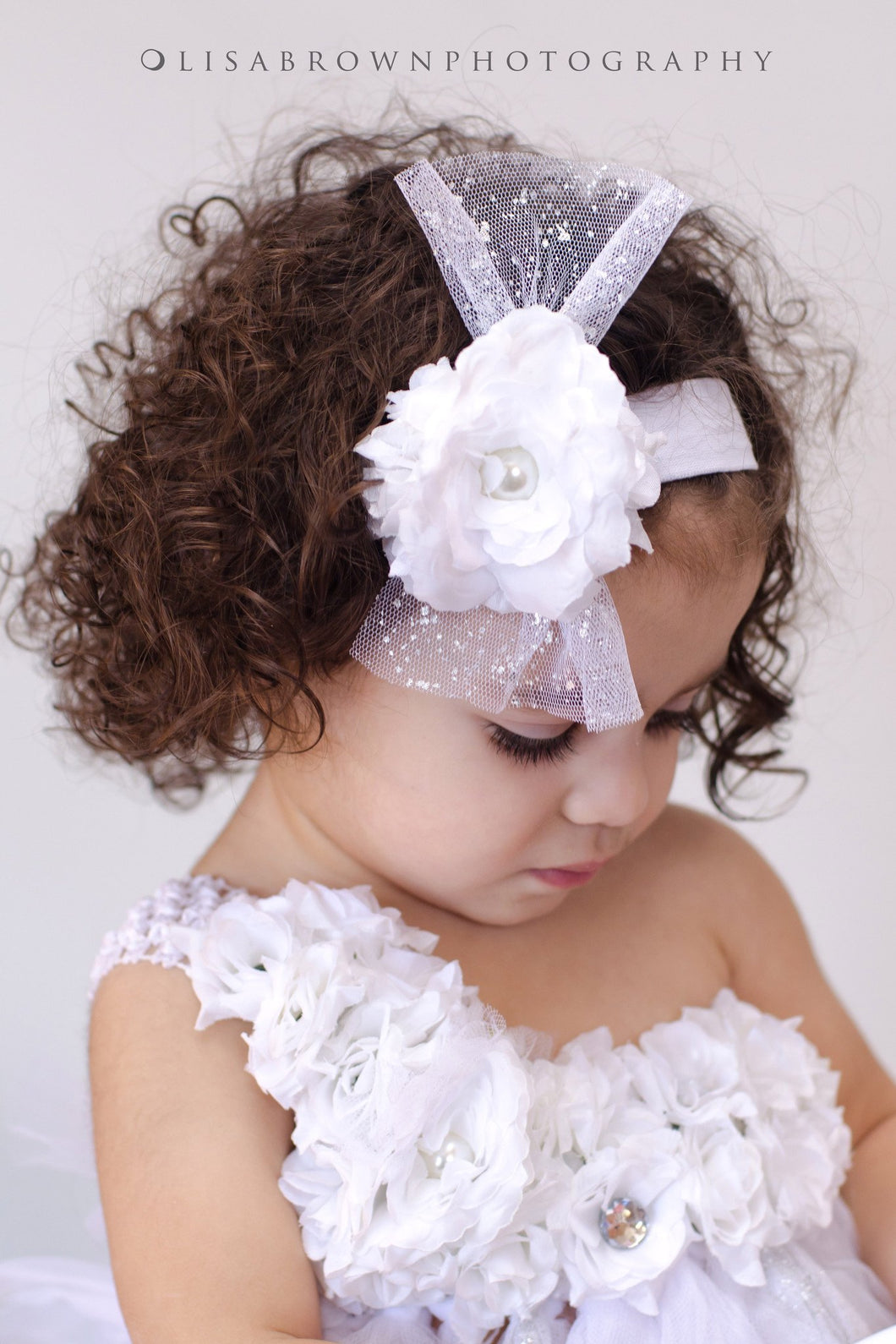 White Chloe Headband for Girls