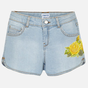 Mayoral Flower Denim Shorts