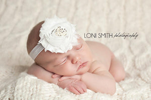 White Juliana Headband: sparkling rhinestone with pearls