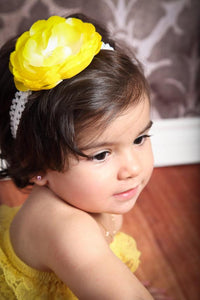 Yellow Peony Flower Headband