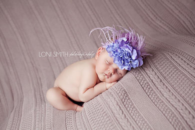 Blue and Lavender Mia Headband for Newborn, Infants and Young Girls