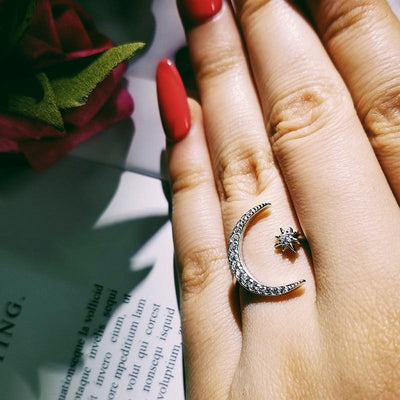 Moon& Star 925 Sterling Silver Ring