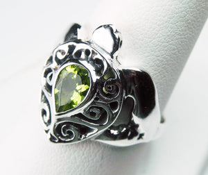 Sea Turtle Ring with Swirls and Peridot