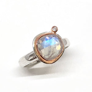 Moonstone Engagement Ring Rose Gold and Silver
