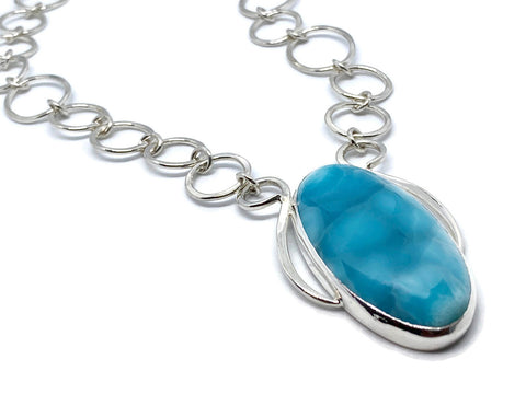 Larimar Necklace Silver