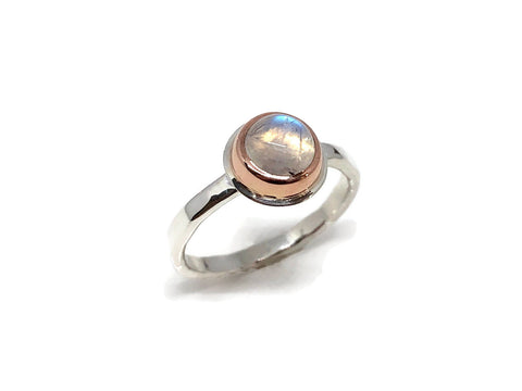 Moonstone Solitaire Ring Rose Gold and Silver