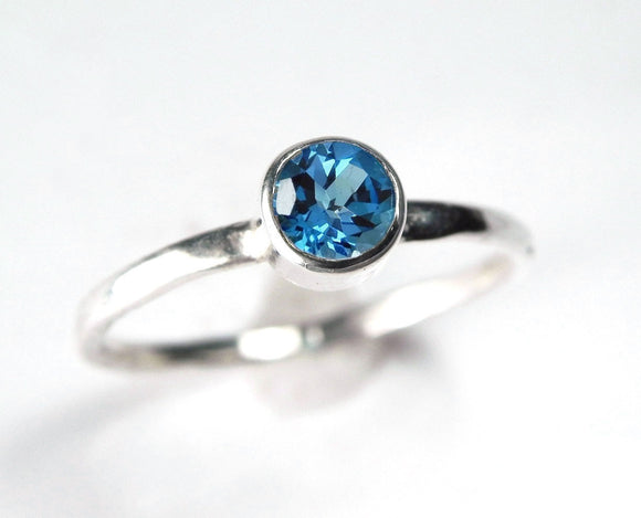 Minimalist Gemstone Ring Swiss Blue Topaz