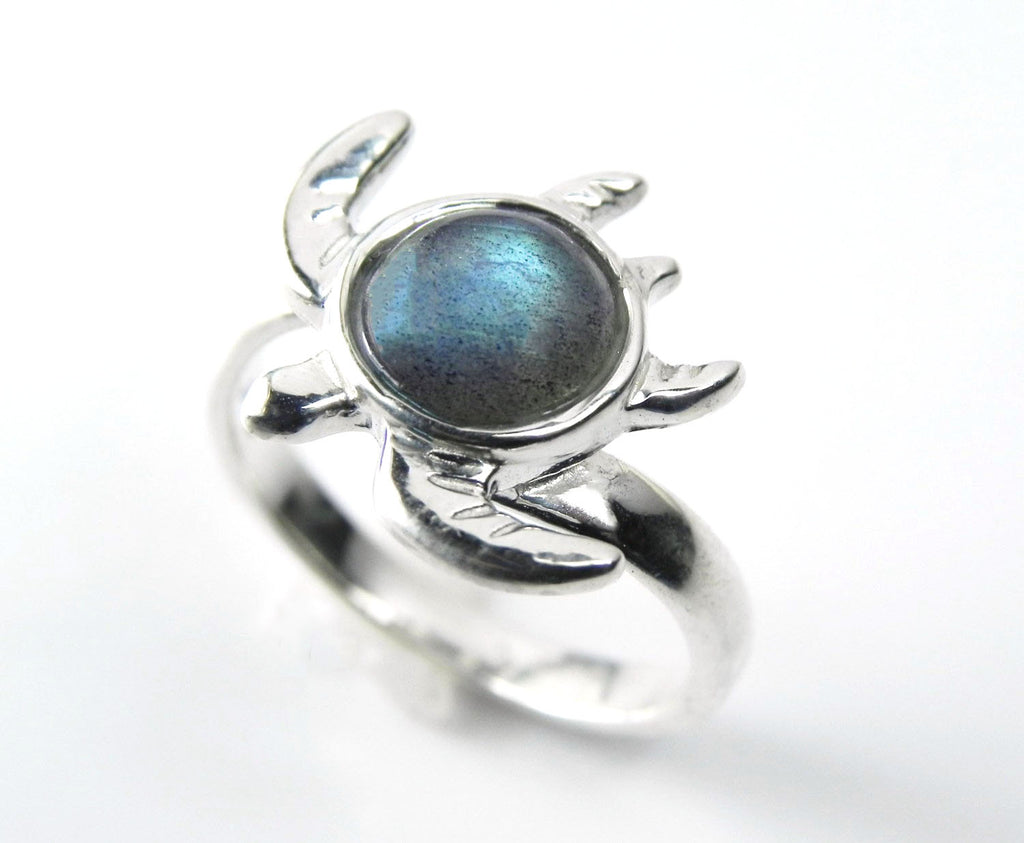 Sea Turtle Ring with Moonstone or Labradorite