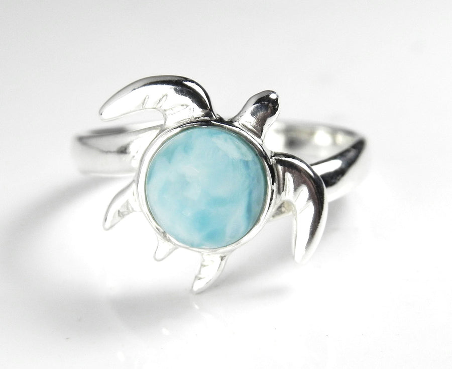 Sea Turtle Ring with Caribbean Larimar Sterling Silver