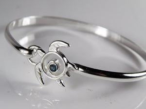 Sea Turtle Hook Bracelet London Blue Topaz Sterling Silver