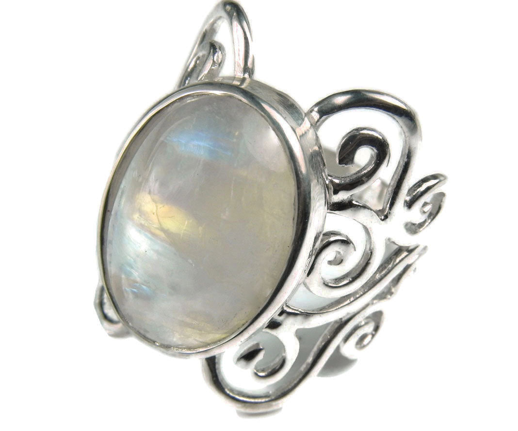 Moonstone Swirl Statement Ring