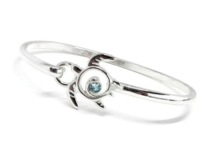 Sea Turtle Bracelet Sterling Silver Blue Topaz