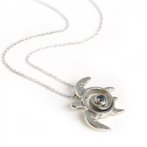 Alexandrite Necklace White Gold Turtle