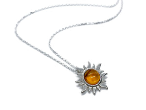 Sun Necklace Silver with Genuine Amber