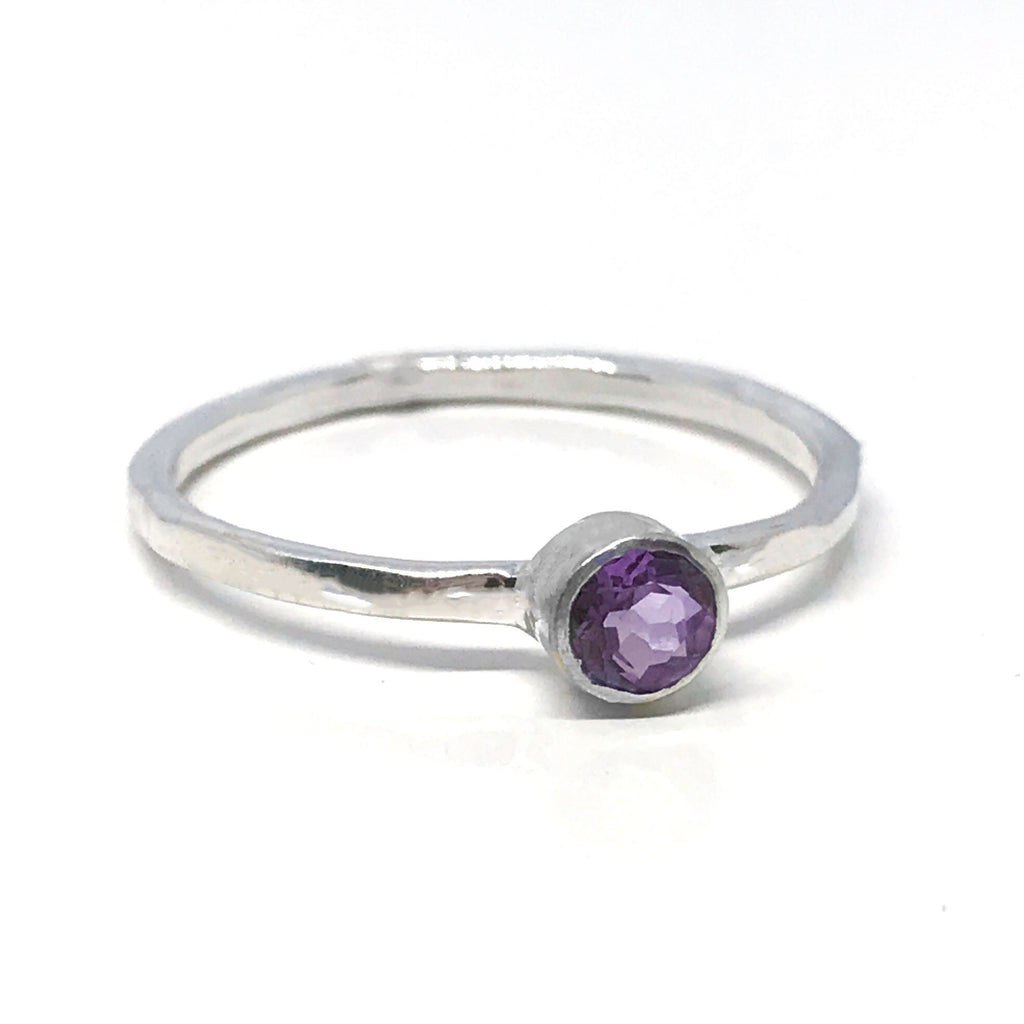 Amethyst Solitaire Ring Minimalist Sterling Silver