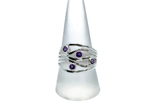 Amethyst Silver Ripple Ring
