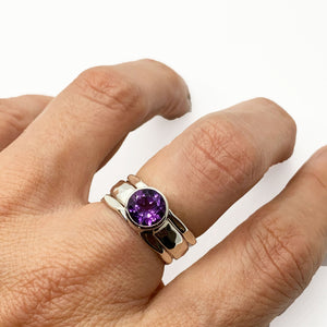 Amethyst Stack Ring Sterling Silver 8mm