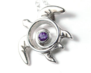 Amethyst Necklace Sea Turtle Sterling Silver February Birthstone
