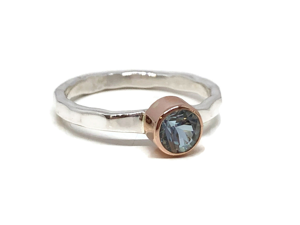 Aquamarine Ring Rose Gold and Sterling Silver