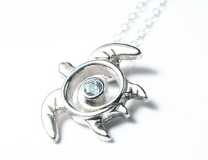 Sea Turtle Aquamarine Necklace Sterling Silver March Birthstone