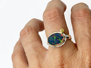 Black Opal Ring with Yellow Diamond Size 8
