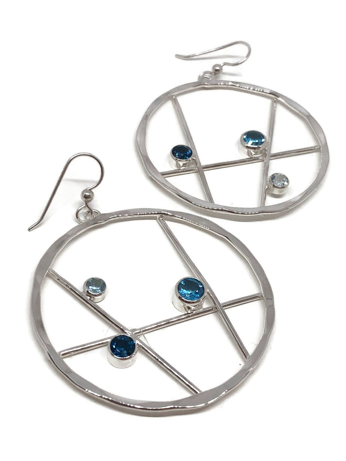 Blue Topaz Hoop Earrings Hammered Silver