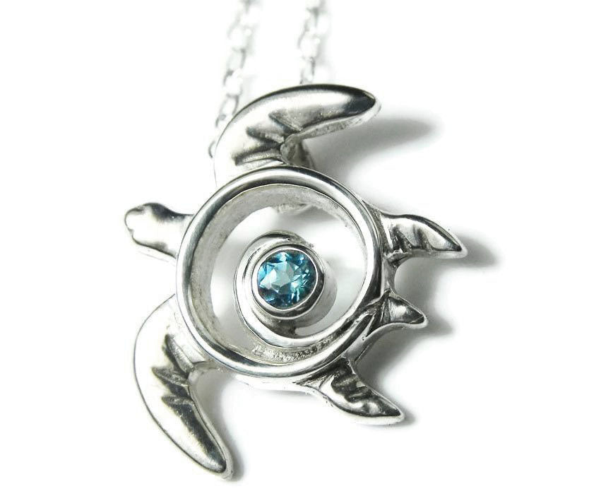 Blue Topaz Sea Turtle Necklace Silver