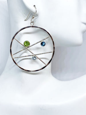 Peridot and Blue Topaz Silver Hoop Earrings
