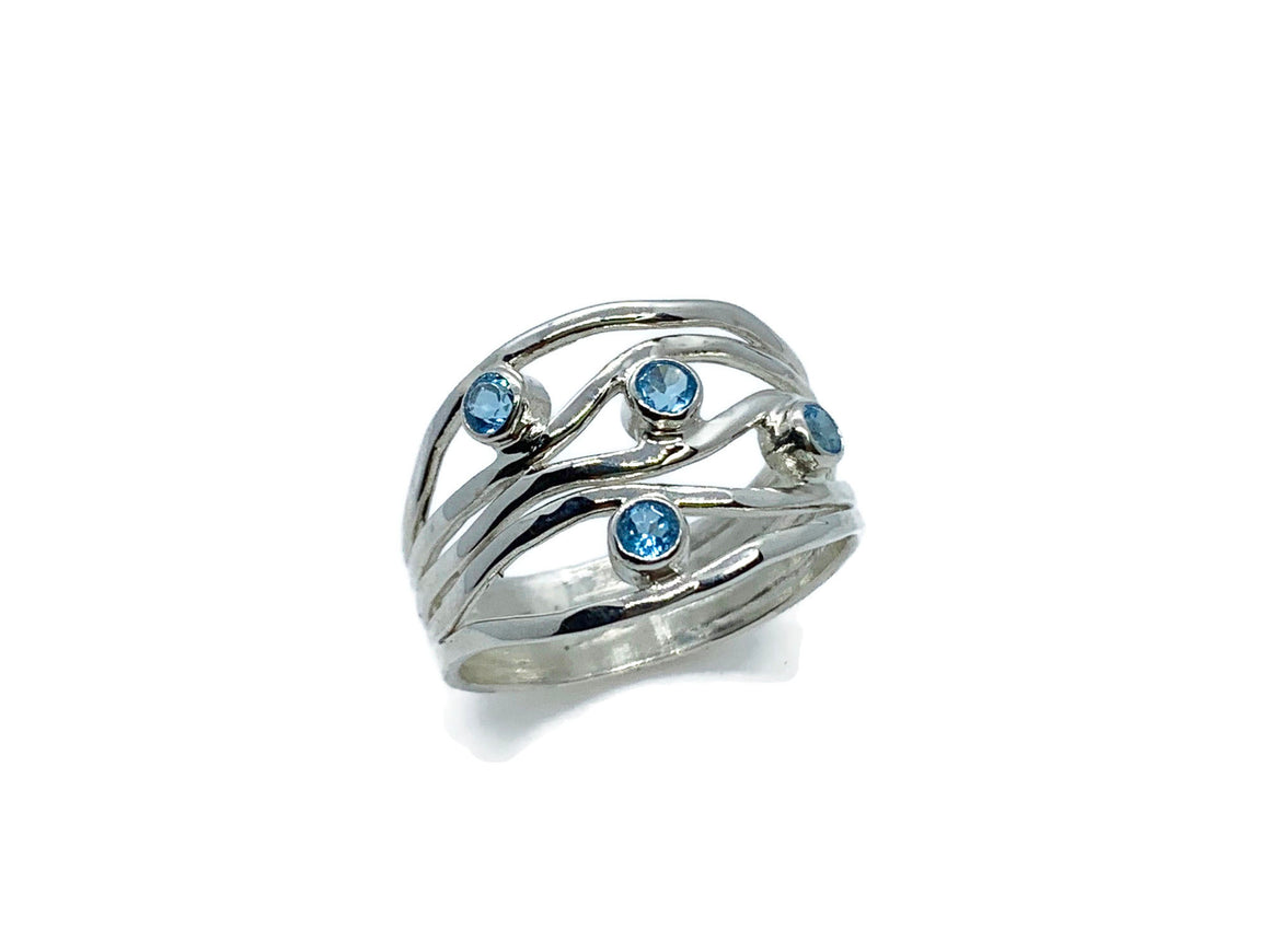 Blue Topaz Ripple Ring Sterling Silver