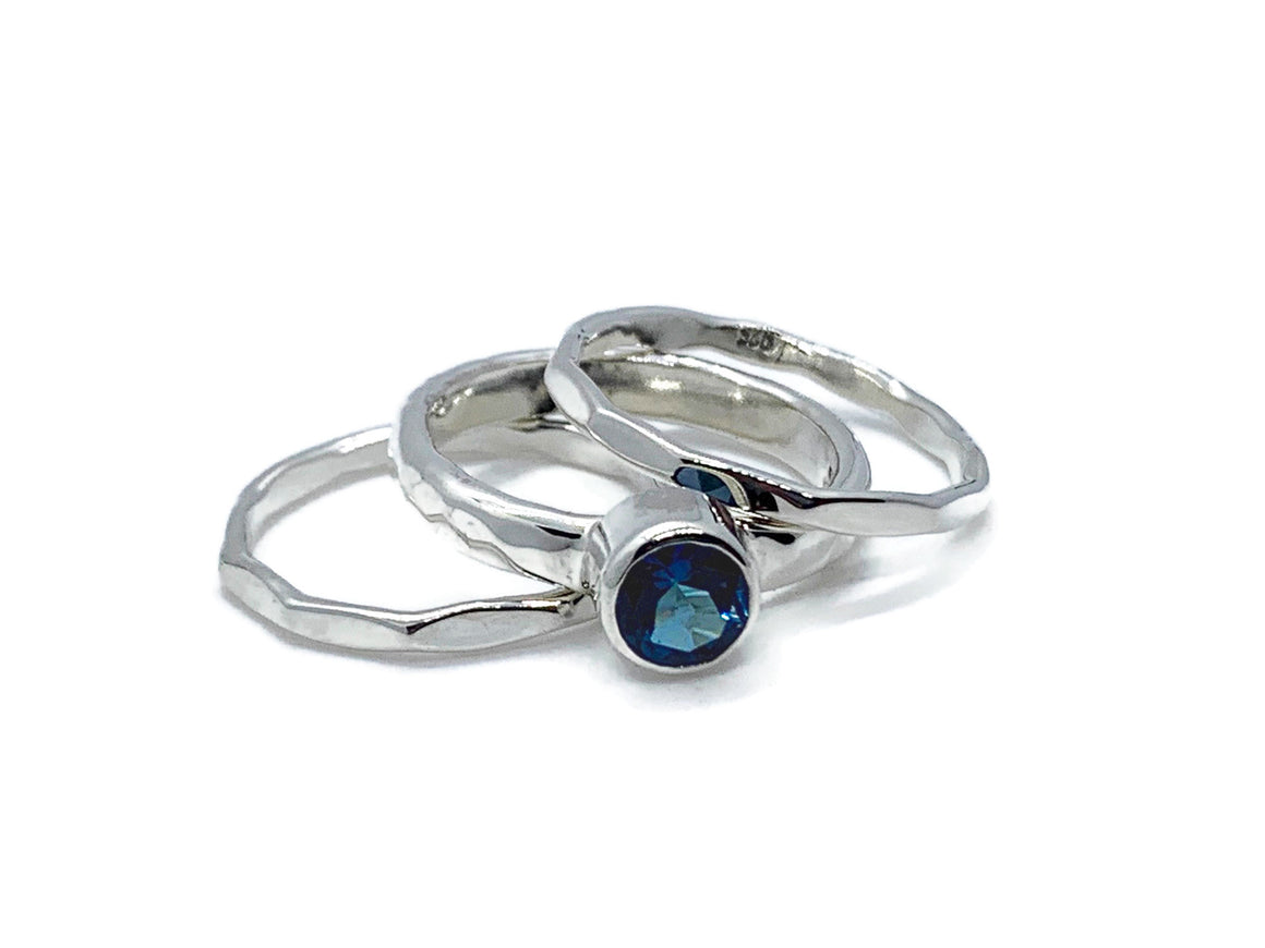 London Blue Topaz Silver Stack Ring Set