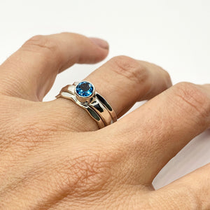 Blue Topaz Silver Stack Ring Set