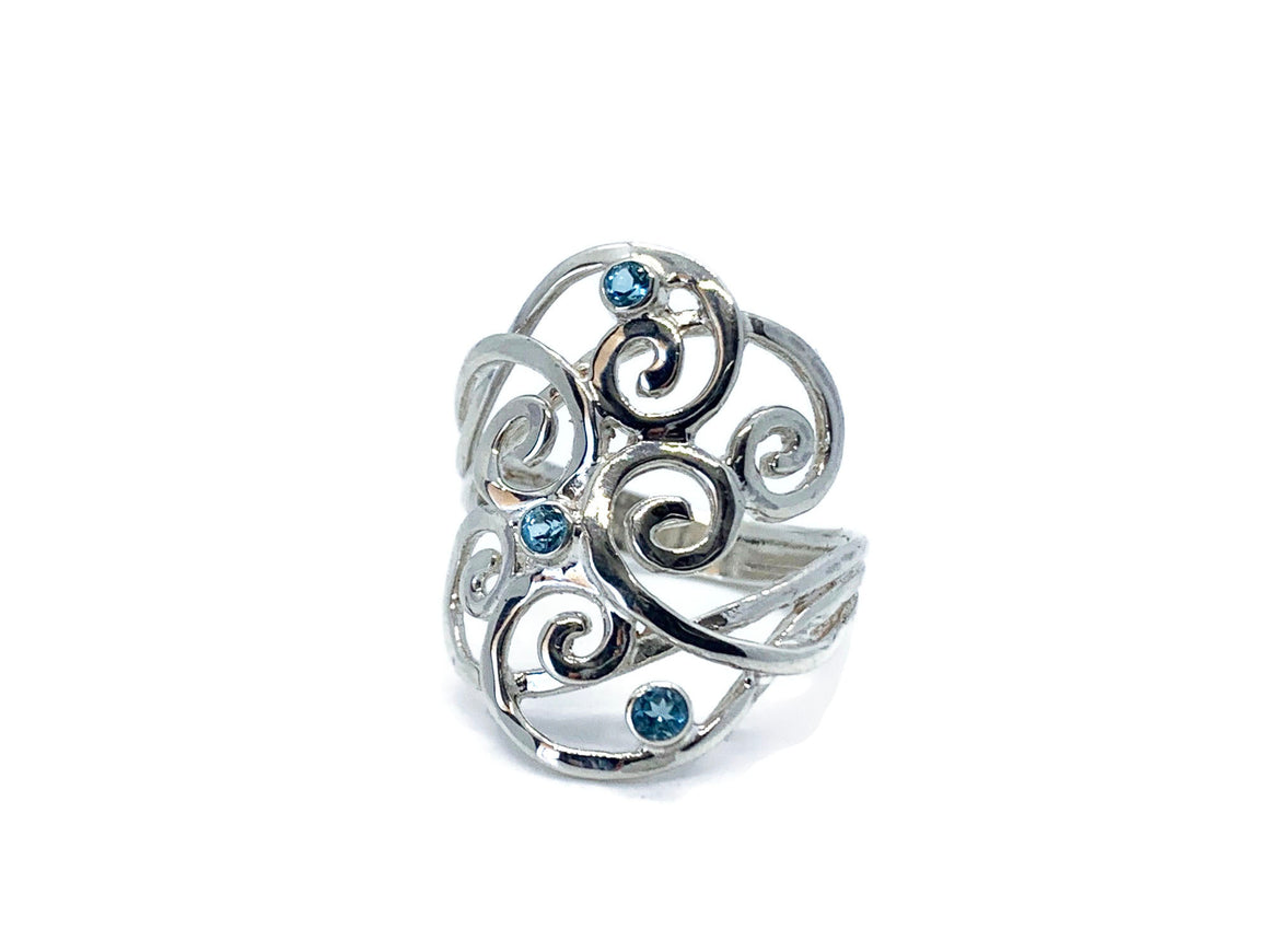 Blue Topaz Multi Swirl Ring Sterling Silver