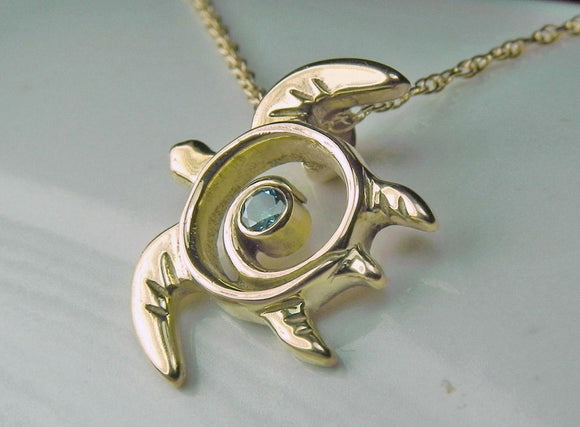 Blue Diamond Gold Swirl Turtle Totem Pendant/ Necklace