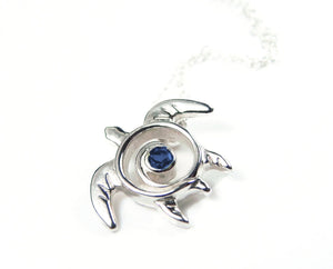 Sea Turtle Necklace with Sapphire or Ruby