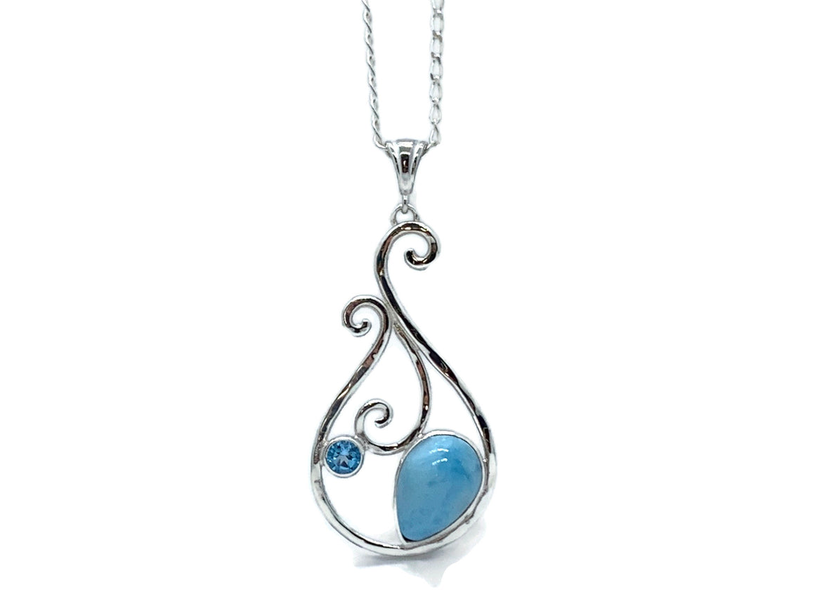 Caribbean Larimar Necklace Silver Swirl with Blue Topaz