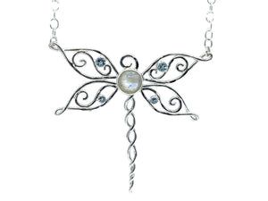 Dragonfly Necklace with Moonstone and Blue Topaz