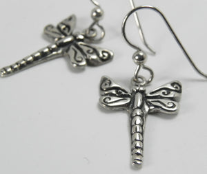 Dragonfly Silver Earrings with Swirl Details
