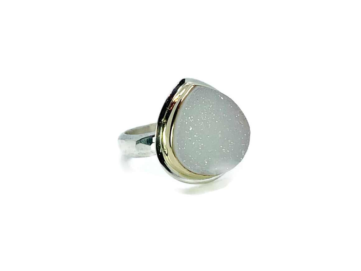 Druzy Ring Silver and Gold Pear Shape Size 7-1/2