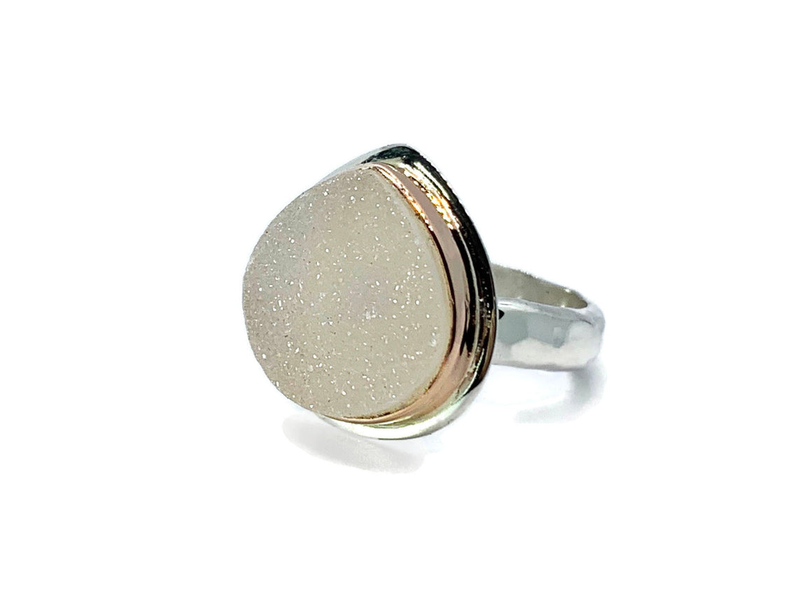 Druzy Ring Pear Shape Silver and Rose Gold Size 8