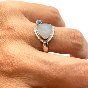 Druzy Ring Sterling Silver with Blue Topaz Size 8-1/2
