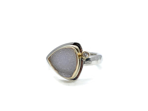 Druzy Ring Trillion Shape with Diamond Size 6-1/2