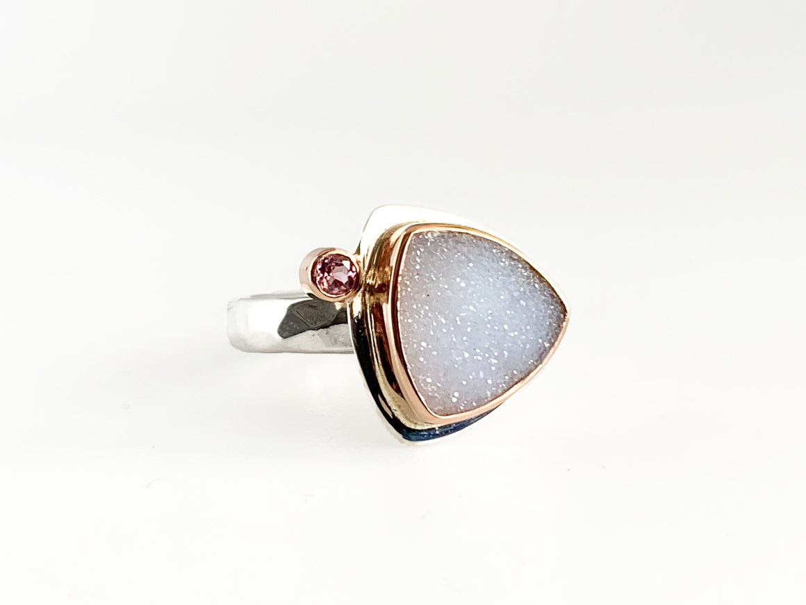 Druzy Triangle Ring with Pink Sapphire and Rose Gold Size 7
