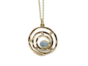 Gold Eye of the Storm Moonstone Pendant with Diamonds