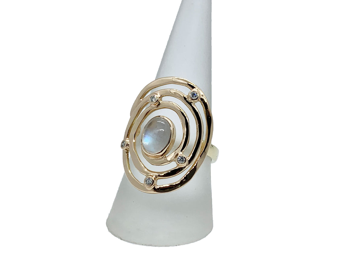 Gold Eye of the Storm Ring Moonstone and Diamond