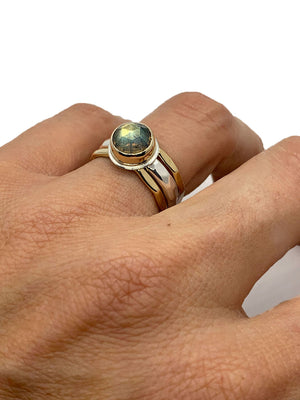 Labradorite Ring Round Faceted Silver and Gold
