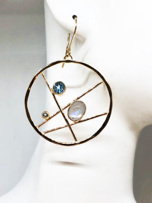 Gold Moonstone Hoop Earrings with Blue Topaz